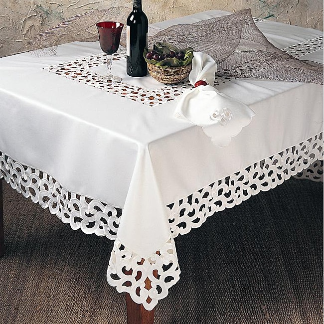 Embroidered Cut Work Ivory 72 Inch Square Tablecloth