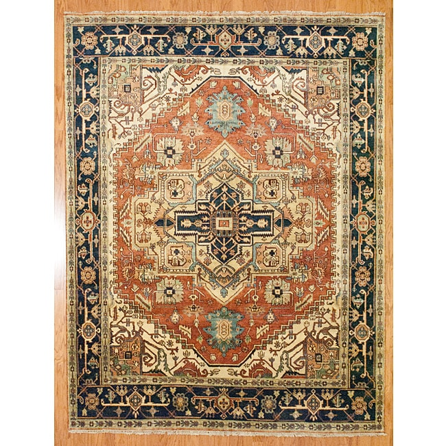 Indo Hand Knotted Serapi Rust Blue Wool Rug 8 X 10