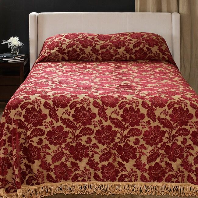 Victoria Burgundy Floral Chenille Bedspread 13284041