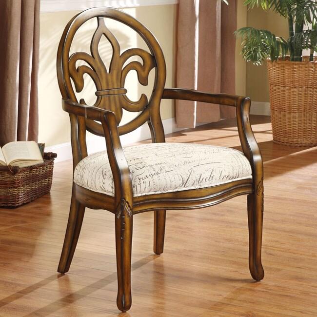 Fleur De Lis Font Parchment Arm Chair 13308719