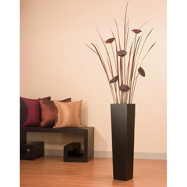 Tall Black Floor Vase With Lotus Grass Overstock
