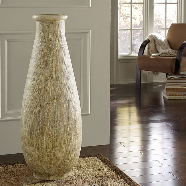 Whitewash Large Floor Vase Indonesia 13322796 Overstock Com Shopping Great Deals On Vases