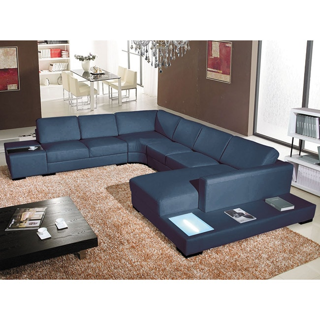 Italia Designs Black Leather Sectional Overstock