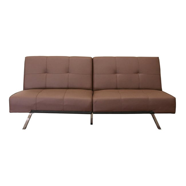 Contemporary Futon Sofa Bed: Ewing Brown Modern Futon/ Sleeper Sofa Bed