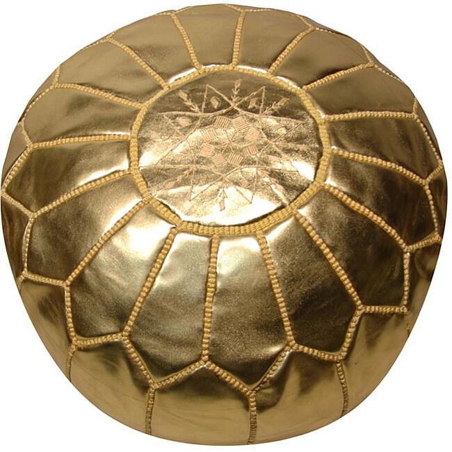 Leather Metallic Gold Pouf Ottoman Morocco 13446515