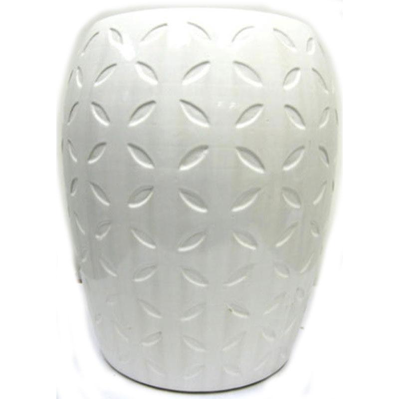 Lattice White Ceramic Garden Seat 13473049 Overstock