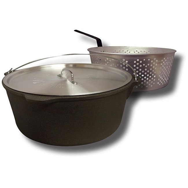 King Kooker 12 Quart Cast Iron Pot With Basket And Lid