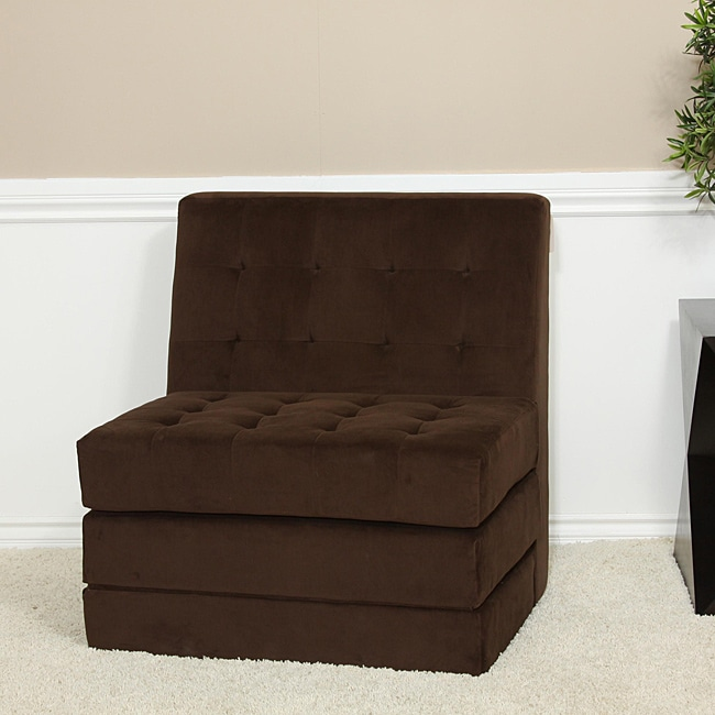 Brown Fold Out Microfiber Chair Sleeper Bed 13576251