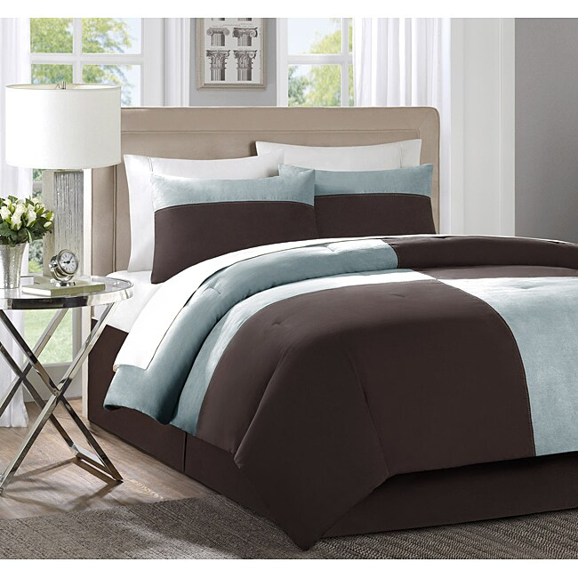 Bently Blue Brown 4 Piece King Size Comforter Set