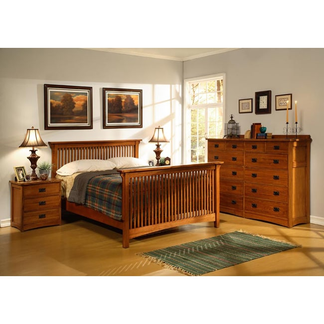 Mission Solid Oak 4-pc Slatted Queen Bedroom Set