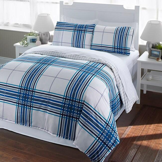 Blue Plaid 2 Piece Twin Size Duvet Cover Set 13706217