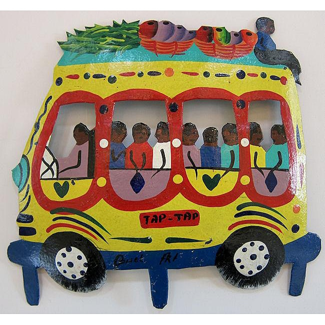 Recycled Steel Drum Yellow Tap Tap Bus Wall Art (Haiti
