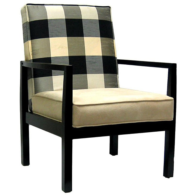 Black And Ivory Polka Plaid Accent Chair 13728775