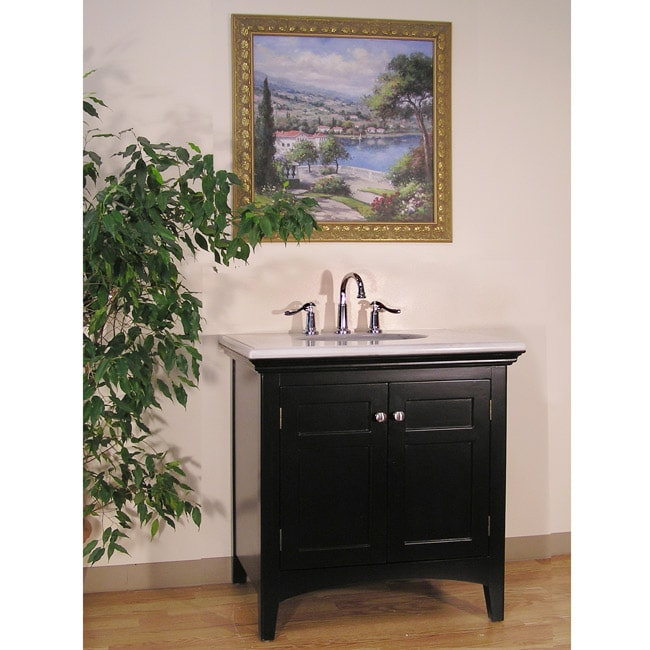 Marble Top 38-inch Single Sink Bathroom Vanity - 13747918 ...