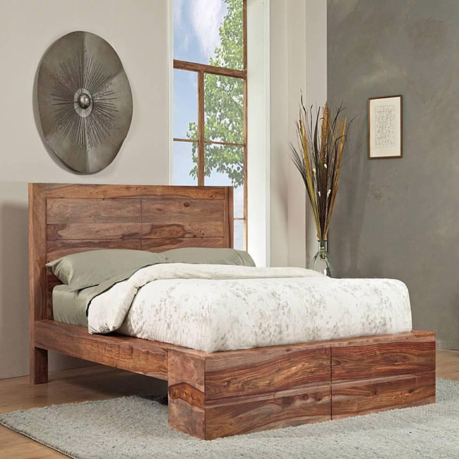 Sheesham Solid Wood Queen Size Panel Bed 13767126