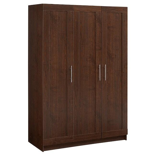 Akadahome Walnut 72 Inch Wardrobe Cabinet 13779001