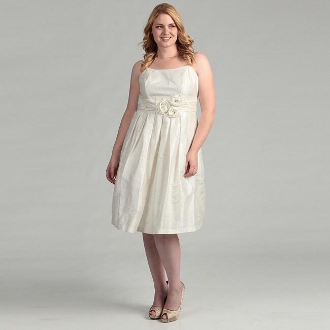 Eliza J Women's Plus Size Ivory Embellished Ruched Waist