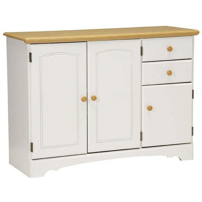 White Kitchen Buffet Cabinet: New Visions By Lane Kitchen Essentials White/Maple Buffet