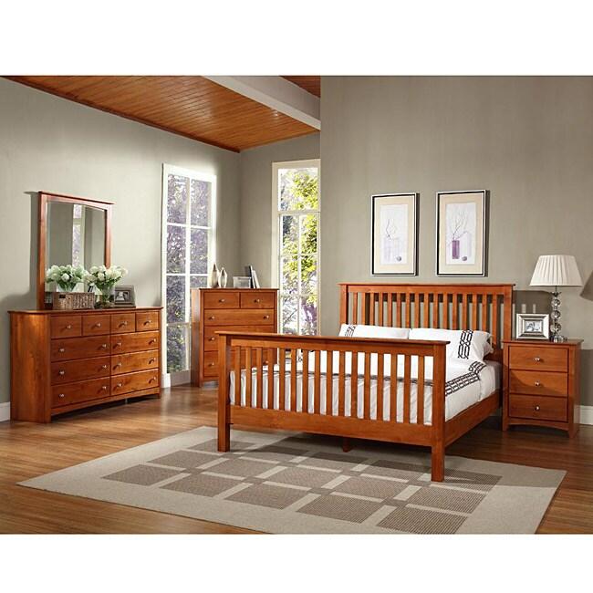 Shaker Alder Wood 4-piece Queen-size Bedroom Set