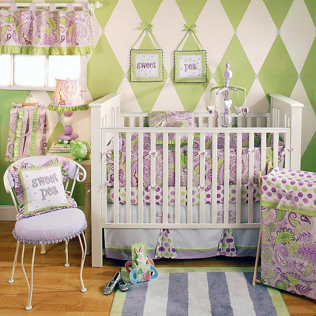 my baby sam sweet pea 4 piece crib bedding set overstock shopping big discounts on bedding sets. Black Bedroom Furniture Sets. Home Design Ideas