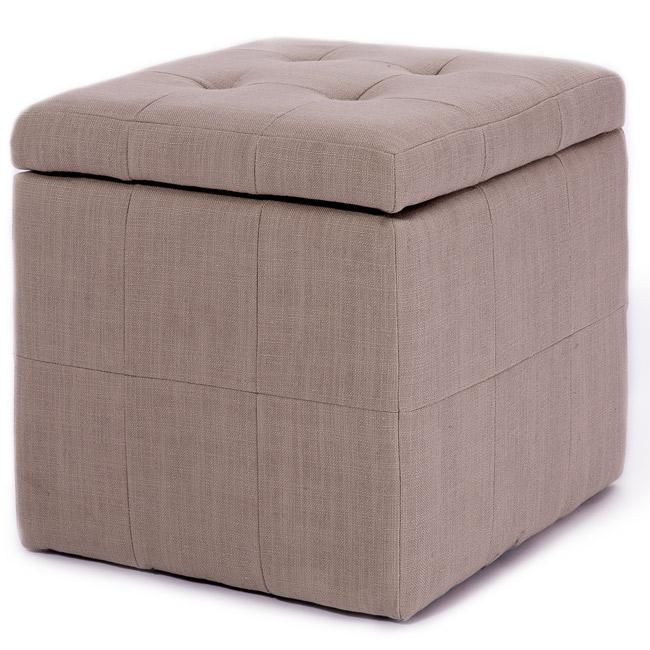 Tufted Beige Fabric Storage Cube Ottoman 13832586