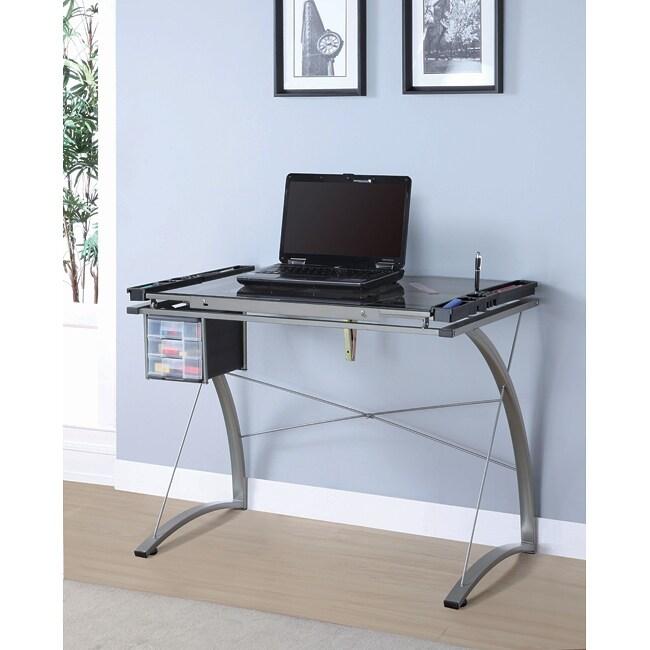 Champagne Metal Adjustable Tilt Top Desk 13925228