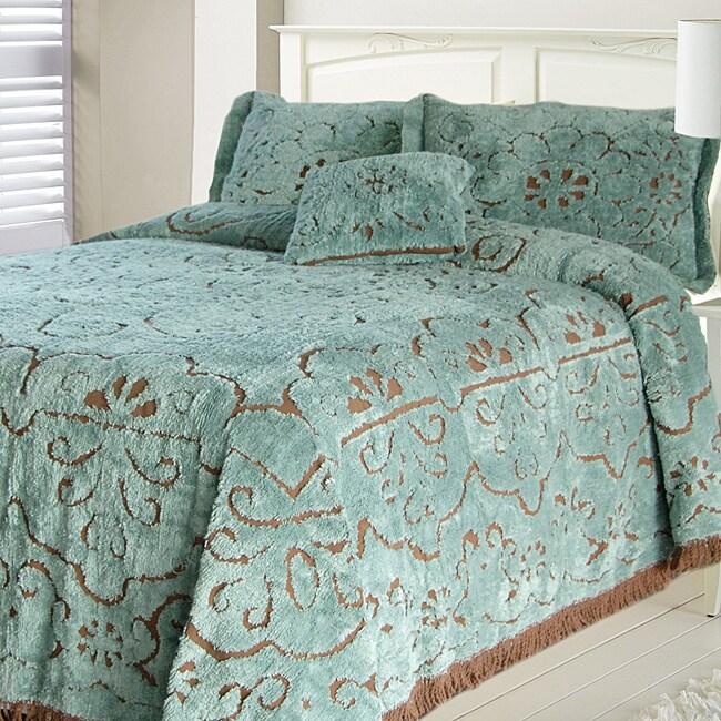 Jessica Slate Chocolate Chenille King Size Bedspread