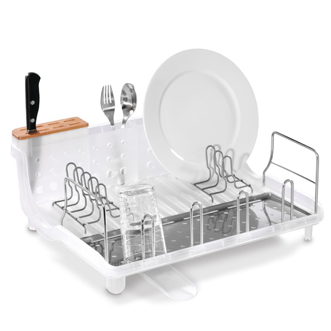 Simplehuman Clear Open Frame Dishrack With Bamboo Knife
