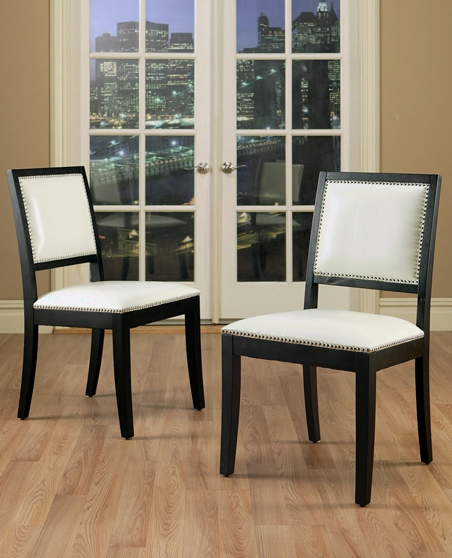 Safavieh En Vogue Dining Matty Black And White Striped: Monaco White Bicast Leather Dining Chairs (Set Of 2