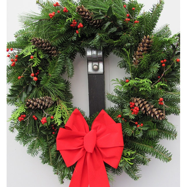 Incredible Fresh Balsam Wreath With Holly Berry And Pinecones Door Handles Collection Olytizonderlifede
