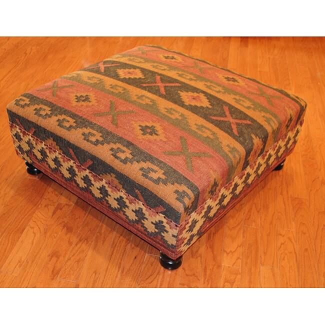 Handmade Kilim Square Ottoman 13986579 Overstock Com