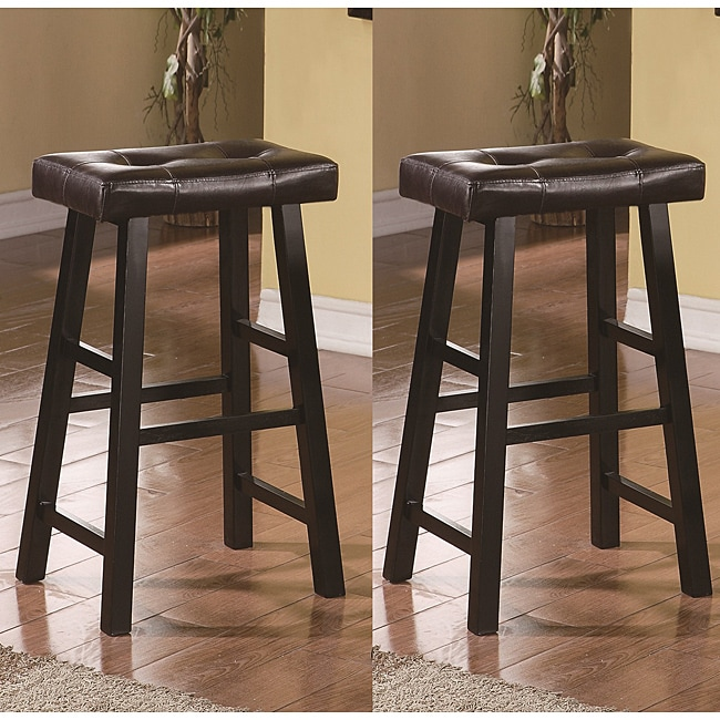 Saddle Black Brown 29 Inch Bicast Leather Bar Stools