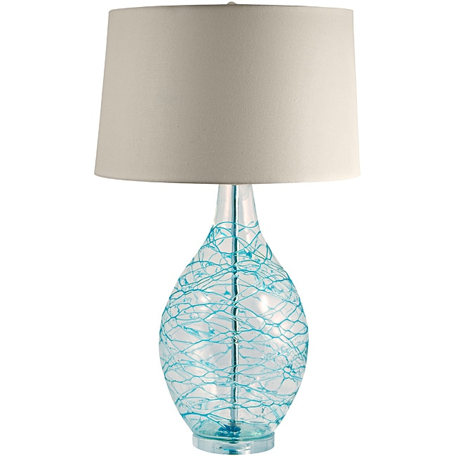 Hand Blown Glass Lamp With Blue Coils 14023134