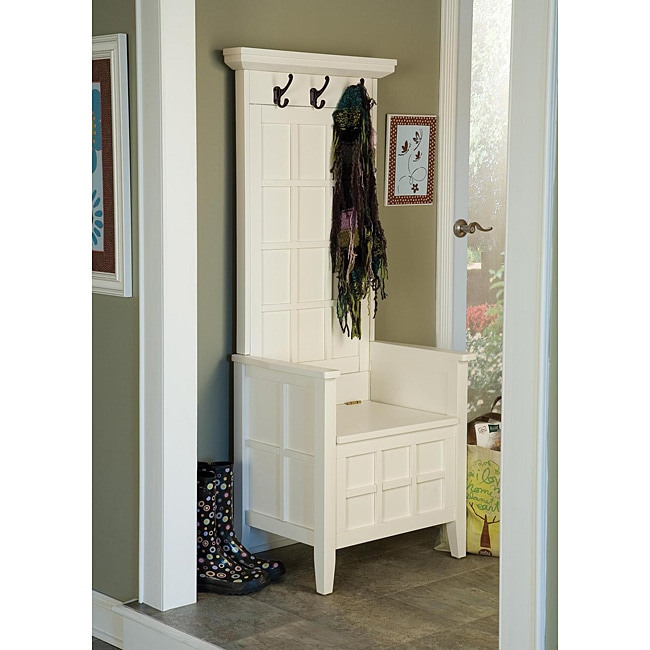 Mini White Hall Tree And Storage Bench 14028949