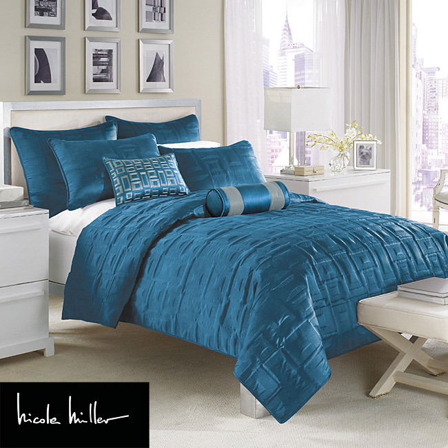 Nicole Miller City Square Peacock King Size Coverlet