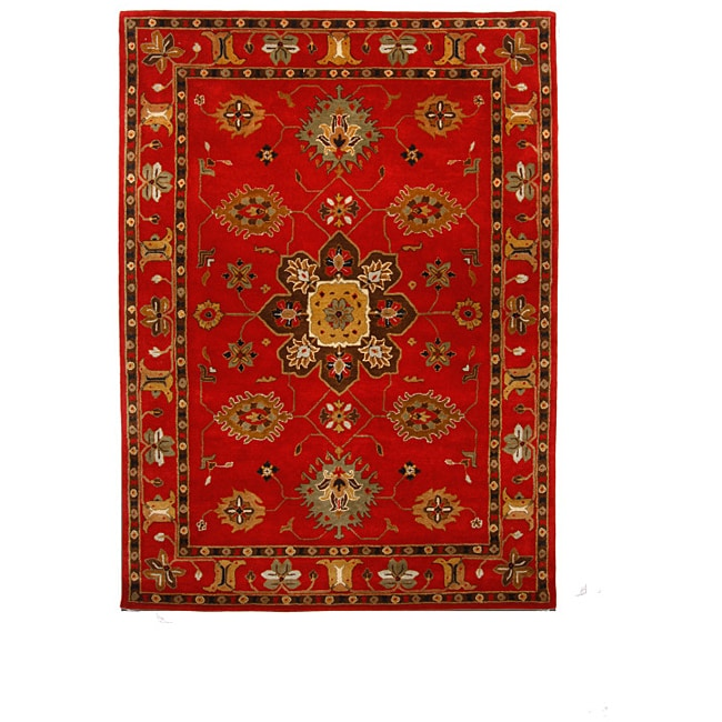 Hand Tufted Tempest Red Gold Area Rug 8 X 11