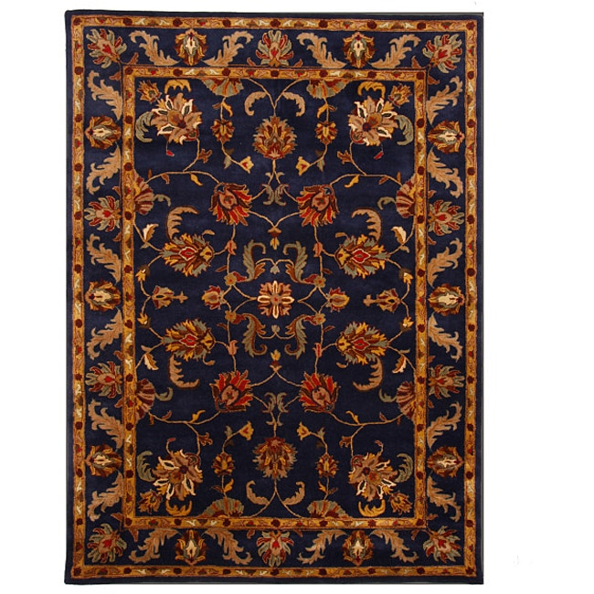 Hand Tufted Tempest Navy Blue Gold Area Rug 8 X 11