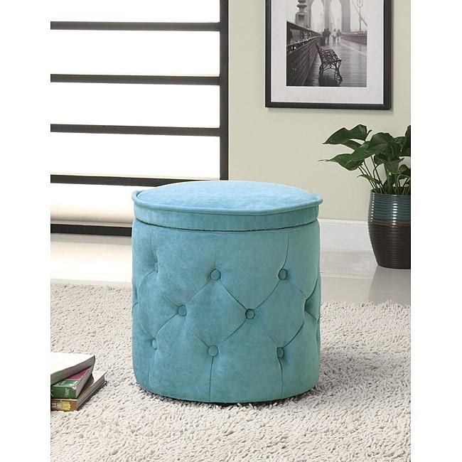 Tufted Fabric Blue Round Storage Ottoman 14049119