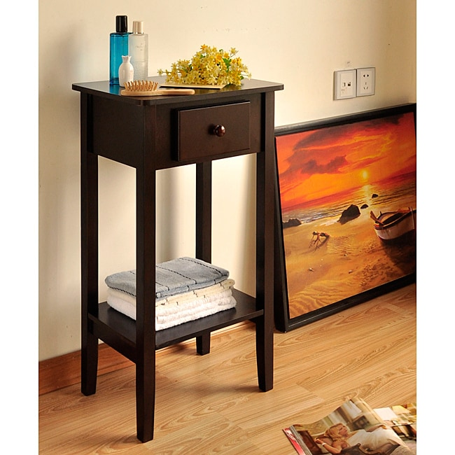 Modern Espresso Wood Side End Table With Drawer 14056957