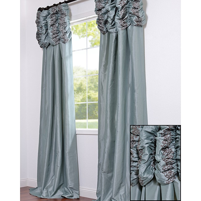 Exclusive Fabrics Ruched Header Sea Green Faux Silk