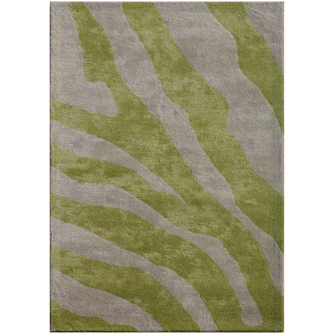 Graham And Green Zebra Rug: Hand-tufted Wool And Art Silk Green Zebra Print Rug (3'6 X