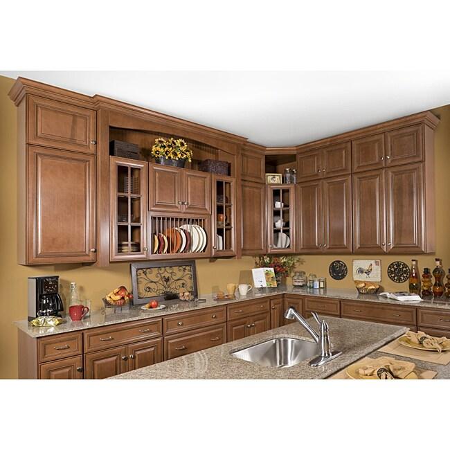 Honey Stain/Chocolate Glaze 42-inch Base Kitchen Cabinet