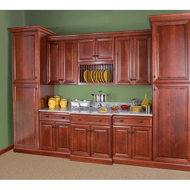 Cherry Stain Chocolate Glaze 42 Inch Wide Base Cabinet 14104936 Overstock Com Shopping Big Discounts On Kitchen Cabinets