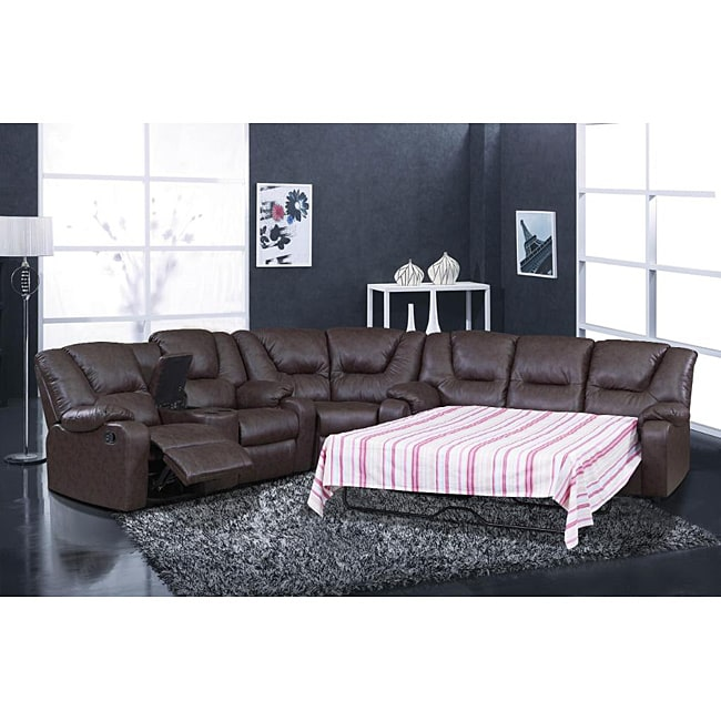 Temper Reclining Sectional Sleeper 14118538 Overstock