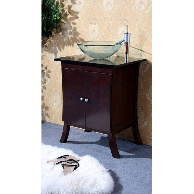 Dark Walnut 27 Inch Bathroom Vanity Glass Bowl Sink