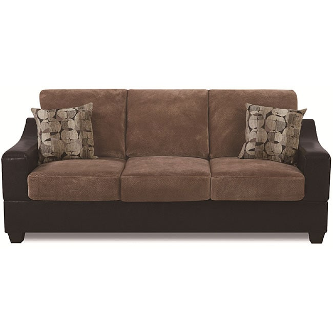 Cocoa Two Tone Bonded Leather Microfiber Sofa Overstock