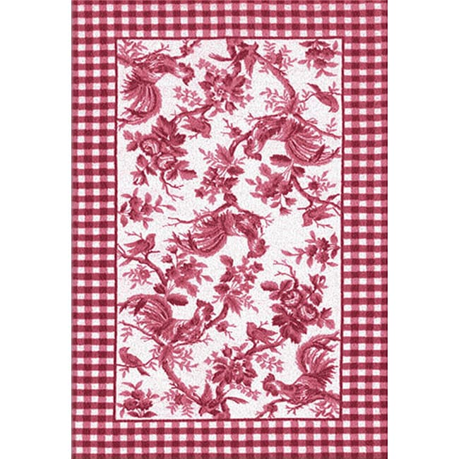 Rooster Toile Red Area Rug 7 6 X 9 6 14334807