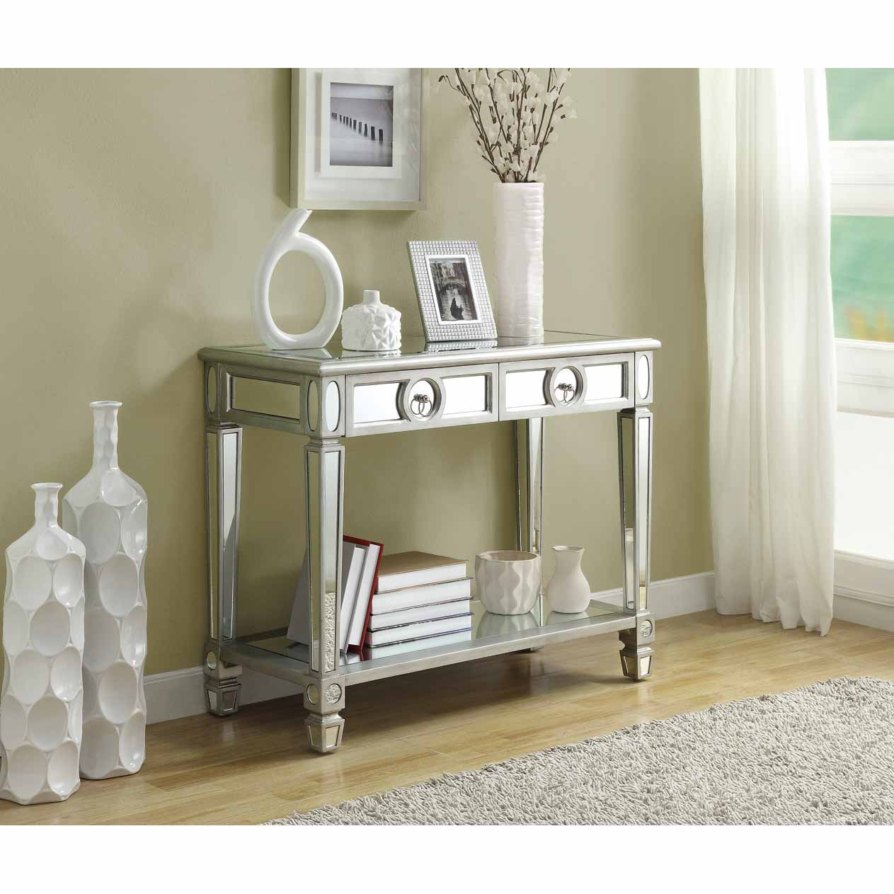 Sofa Table Pics: Mirrored 38-inch Sofa Console Table With Two Drawers