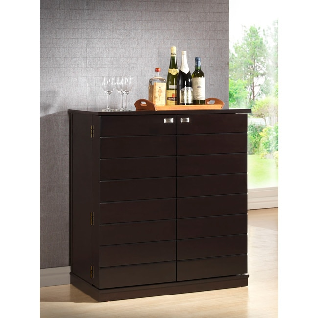 Fun Modern Home Bar Furniture: Stamford Dark Brown Modern Bar Cabinet
