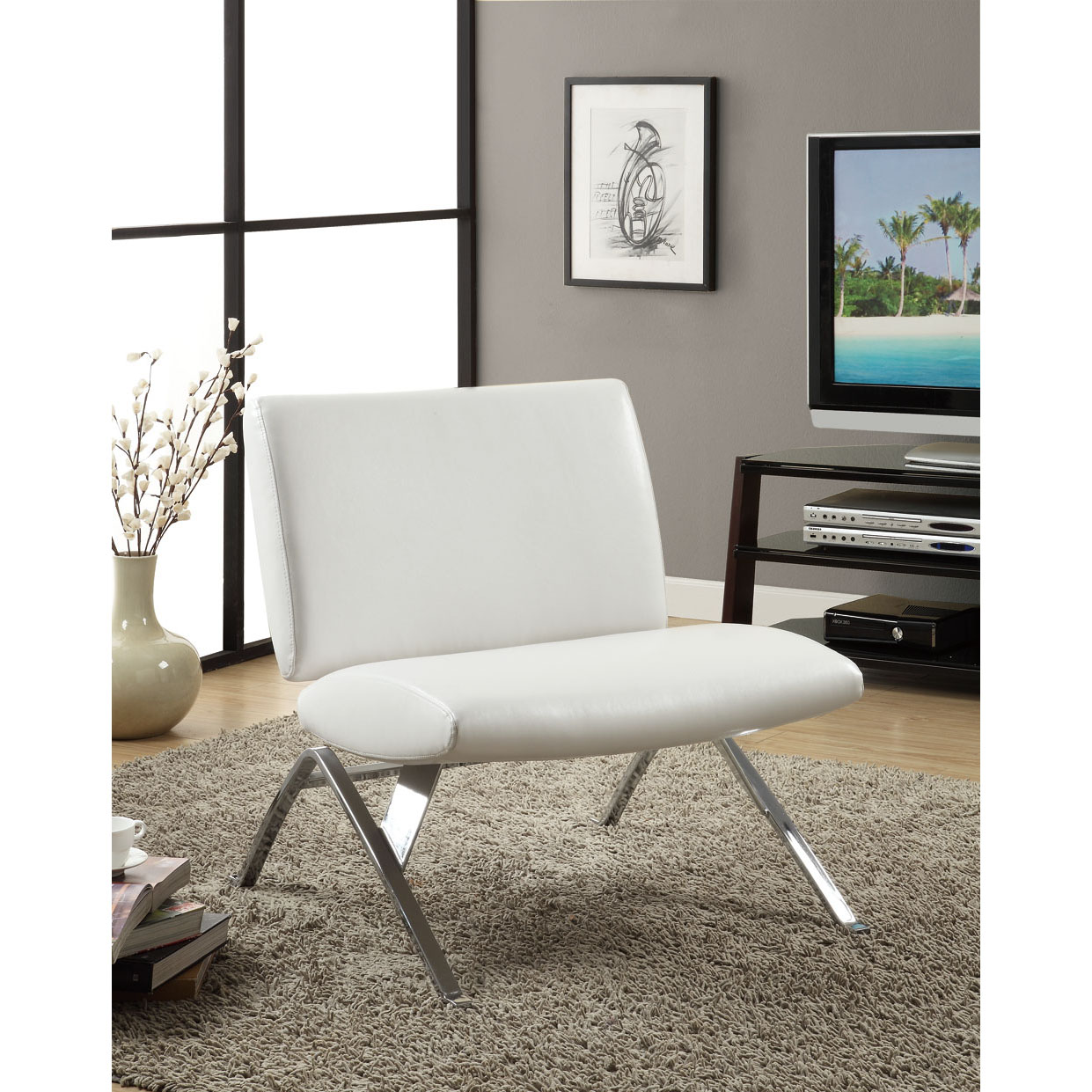 Designer Accent Chairs: White Leather-Look / Chrome Metal Modern Accent Chair